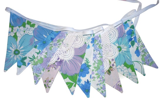 Vintage Retro Pretty Floral Blue & Lilac /Lavender Doily Lace, Flag Bunting. Wall hanging, Parties, Party, Wedding etc