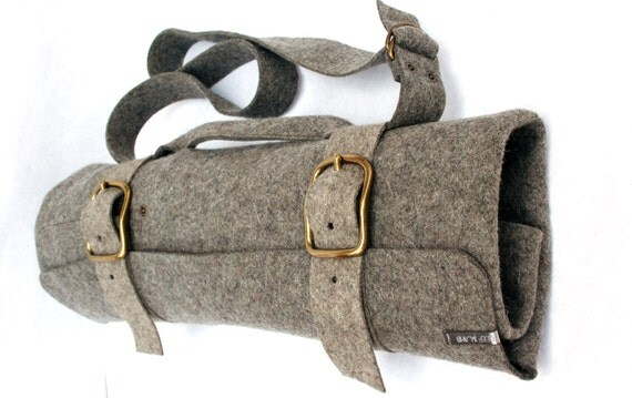 items similar to stage chef knife bag roll style mushroom grey brown wool felt on etsy. Black Bedroom Furniture Sets. Home Design Ideas