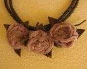 Felt necklace Rose