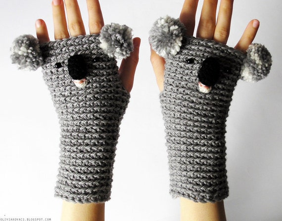 KOALA GLOVES ANIMAL Mittens Fingerless Bear Crocheted Hand Warmers Autumn Winter Wildlife Zoo Kids Adults Wool Free Shipping Worldwide