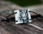 White tiger, Polymer clay bracelet.