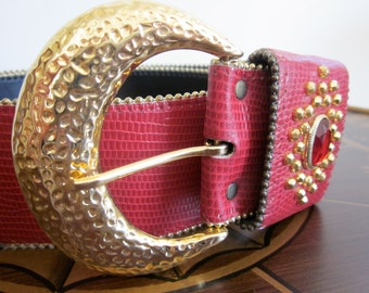 Rocker Belt / Studded Belt / 80s Belt / Leather Belt / Women / Steampunk Belt / Wide Red Belt / Gold Buckle / Embellished Belt / Made in US