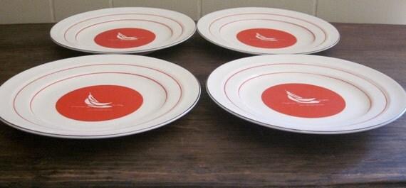 Nautical Plates/  Vintage Sailboat/  Nautical Decor/ Red and White Plates/ Vintage Plates Set/ Vintage Japan Plates/  Dessert Plates