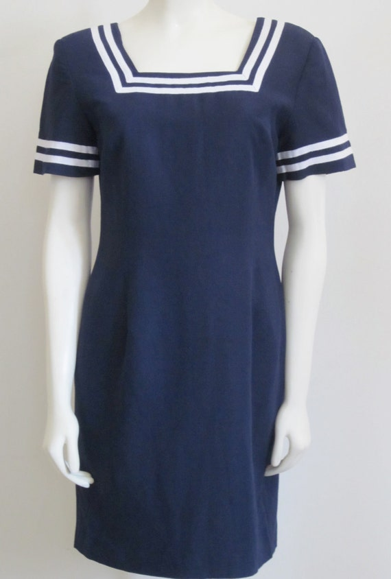 Nautical Dress Brooks Brothers Vintage 1980s Navy & White Sailing Preppy 80s Sailor Dress Nautical Stripe Navy Dress Size 6