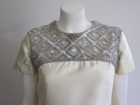 Vintage 1960s Steve & Anna Beaded Shift Dress/ 60s Yellow Silk Dupioni Dress/ Jackie Kennedy India Dress/ Mad Men/ Mid Century/ Wedding