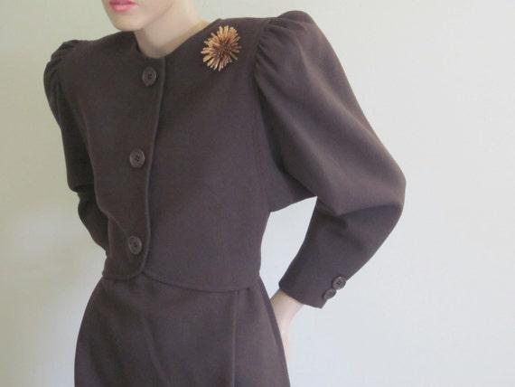 Oscar de la Renta / 80s Does 40s / 80s Dress / Designer Dress / Saks / Saks Fifth Avenue / Olive Green / Kate Middleton Dress / Dolman Dres