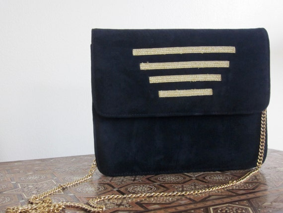 Nautical Bag Norma B Vintage 1980s Navy Suede and Leather Bag Gold Stripes Gold Chain Preppy Sailing Military Fashion