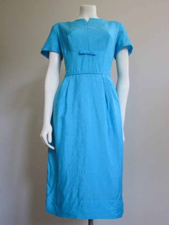 Vintage 1960s Roseweb New York Two Piece Tiffany Blue Silk Dress Set/ Mad Men/ Jackie Kennedy Robin Egg Blue Dress/ Mid Century Silk Dress/