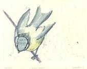 "Bird Print Monotype ""Bird on a Branch II"""