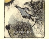 """Bird Print """"Flight"""" Monoprint with Silver and Gold"""