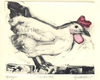 """Chicken Print Monotype """"Chicken Peck"""""""