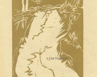 "Woodcut Maine Print ""Back From Burnt Head"" Trail"