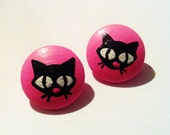SALE -35% Pink Black Cats earrings - Hand painted