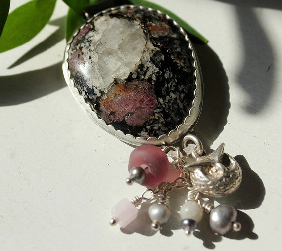 Silver Pink Spinel, Iolite Pendant With Owl Charm