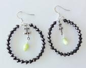 Oval Black and Green Earrings - Olive Green Cat's Eye (Chrysoberyl) Earrings / Green Gemstone Dangle Earrings