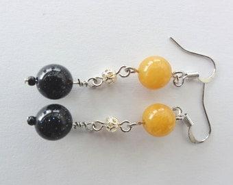 Gemstone Earrings - Long Dangle Goldstone and Topaz Gemstone Earrings