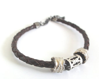 Braided Leather bracelet with silver beads (one of a kind jewelry)