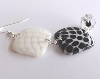 Black and White Earrings