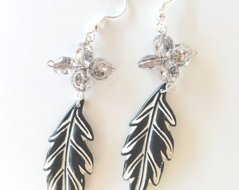 Leaf shape dangle earrings - beaded long dangle earrings