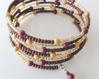 Two tones beaded memory wire bangle / bracelet with metallic colour beads-one of a kind jewelry
