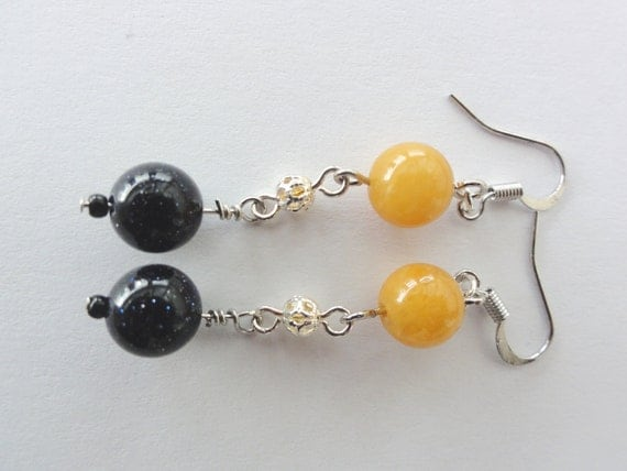 Gemstone Earrings - Long Dangle Goldstone and Topaz Gemstone Earrings
