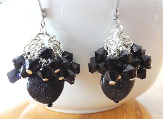 Gemstone Earrings - Long Dangle Heart-Shaped Goldstone Earrings - one of a kind jewelry