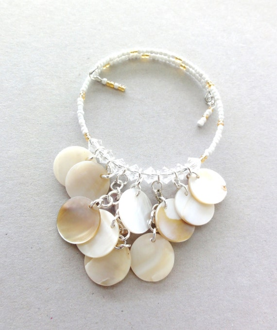 Shell dangle memory wire bangle (one of a kind jewelry)