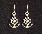 NEW Handmade Tibetan Silver Nautical Helm Anchor Holiday Dangle Earrings