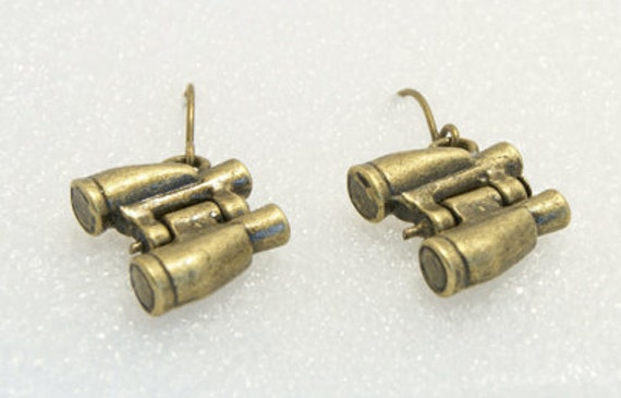 Handmade Vintage Style 3D Binoculars Drop Brass Earrings