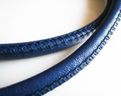 1 Yard of 6mm Blue Round Leather Cord