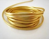 1 Yard of 3mm Metallic Gold Lace Strap Genuine Flat Leather Cord