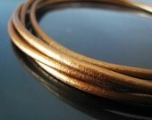 1 Yard of 3mm Metallic Copper Round Leather Cord