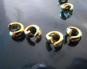 Finding - 20 pcs Gold Round Small Openable Spacers Beads with Large Hole ( 7mm x 3mm  inside 3mm)