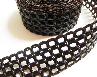 1 Yard of 50mm Deep Brown Lace Strap Genuine Flat Leather Cord