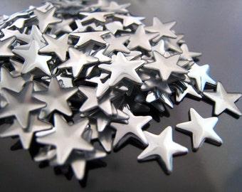 Finding - 20 pcs Silver Star Rhinestone Flatback Hotfix 8mm