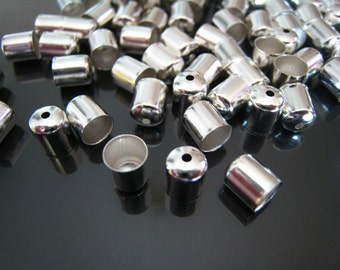 Finding - 20 pcs Silver Round Tone Leather Cord Ends Buckle Cap For Round Leathers ( 7mm x 6mm )