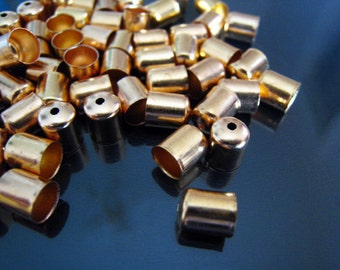 Finding - 20 pcs Gold Round Tone Leather Cord Ends Buckle Cap For Round Leathers 7mm x 6mm