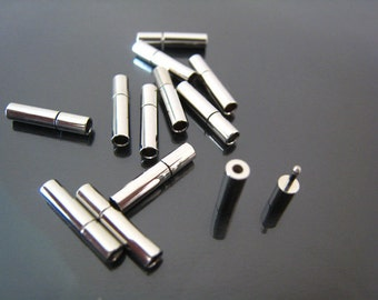 Finding - 2 Sets of Silver Open Round  Buckle Ends Clasp Connector 14mm x 3mm ( Inside 2mm Diameter )