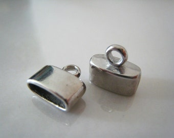Finding - 6 pcs Silver Leather Cord Ends Cap For Round Leathers 11mm x 10.5mm ( inside 9.5mm width )