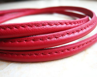 1 Yard of 6mm Red Round Leather Cord