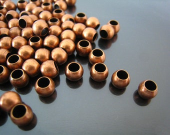 Finding - 20 pcs Red Copper Round Ball Spacers Beads with Large Hole ( 6mm x 5mm )