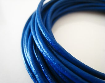 2 Yards of 2mm Sapphire ( Blue ) Genuine Round Leather Cord