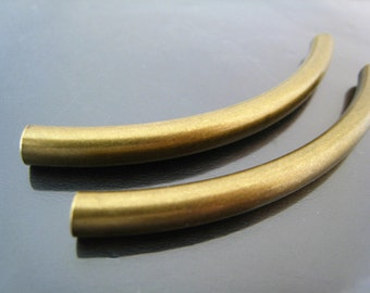 Finding - 2 pcs Antique Brass Very Long Curve Arc Tubes 70mm x 5mm ( Fit for 4mm Round Leather )