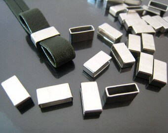 Finding - 10 pcs Silver Straight Flat Rectangular Tubes 5mm x 10mm x 4mm ( Inside 9mm x 3mm Hole )