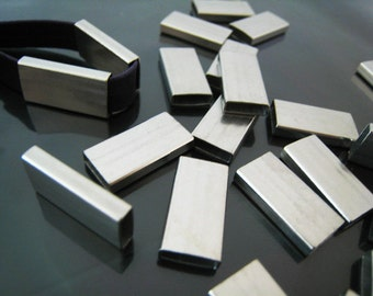 Finding - 4 pcs Silver Straight Flat Rectangular Tubes 20mm x 10mm x 4mm ( Inside 9mm x 3mm Hole )