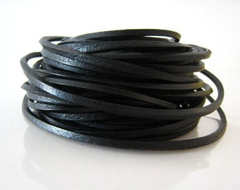1 Yard of 3mm Black Jet Square Cubic Shape Genuine Leather Cord