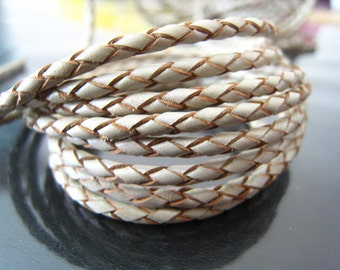 Leather Cord 2.5mm - Metallic Pearl Braided Bolo Genuine Leather Cord