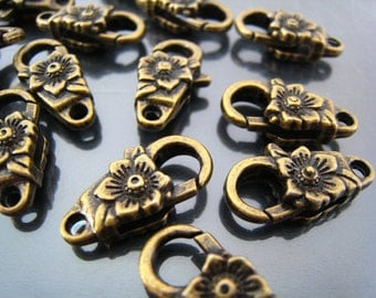Finding - 2 pcs Antique Brass Flower Large Clasps 24mm x 13mm