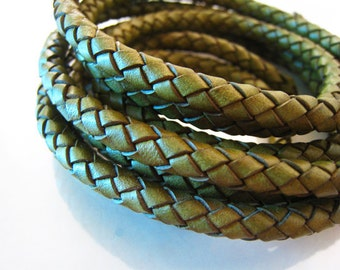 1 Yard of 6mm Vintage Green Round Braided Bolo Leather Cord