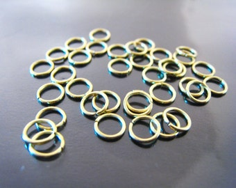 Finding - 20 pcs 6mm Gold Open Jump Rings ( 6mm and inside 4.5 mm )